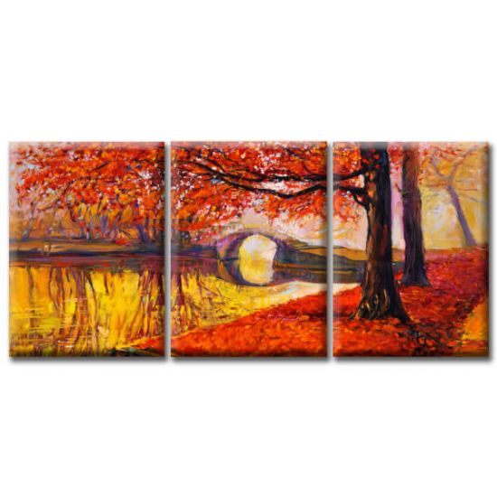 Модульная Картина Glozis Golden Autumn D-049 50х35 см х 3 Картины