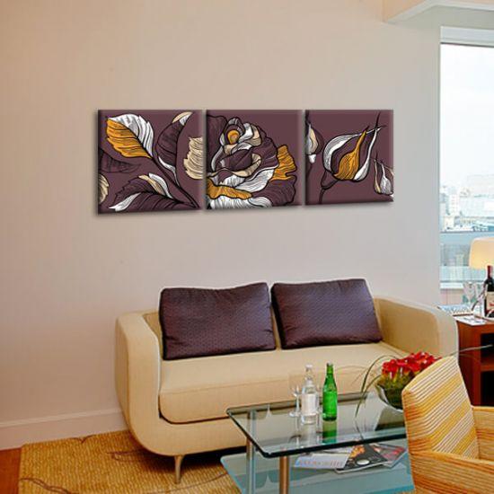 Модульная Картина Glozis Dark Rose D-061 50х50 см х 3 Картины