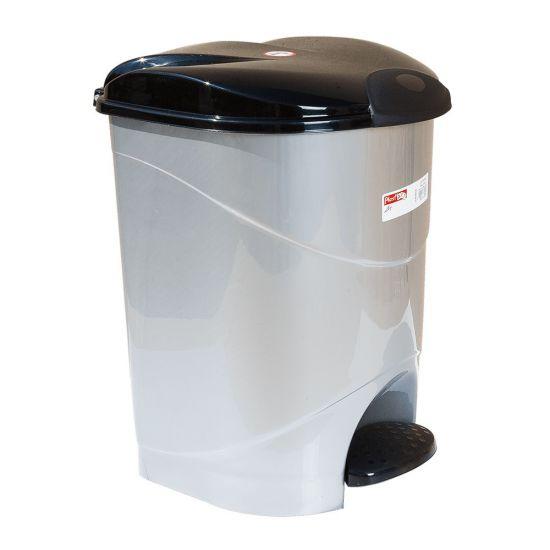 Ведро для мусора с педалью Irak Plastik Bella №1 12л серый металлик