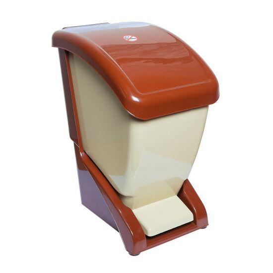 Ведро для мусора с педалью 12 л коричнево-бежевый