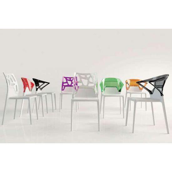 Кресло Papatya Ego-K белое сиденье, верх прозрачно-дымчатый
