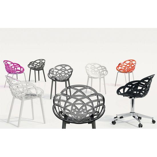 Кресло Papatya Flora прозрачно-чистое сиденье, низ белый