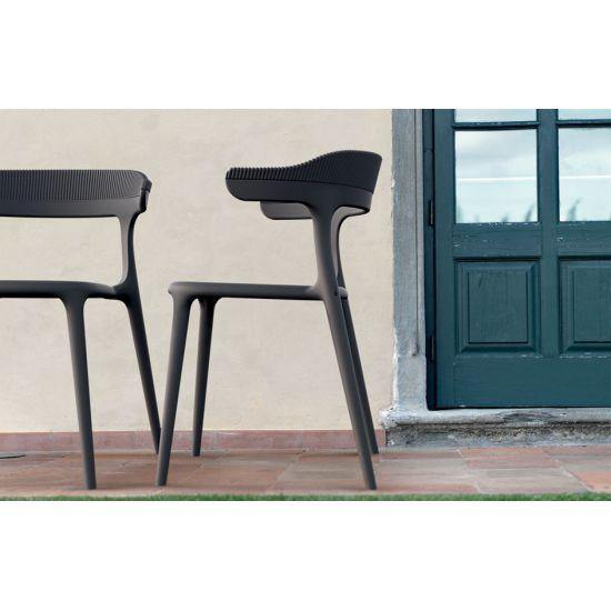 Кресло Papatya Luna-Stripe черное сиденье, верх черный
