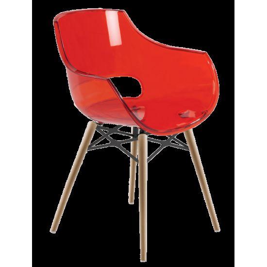 Кресло Papatya Opal-Wox прозрачно-красное, рама натуральный бук