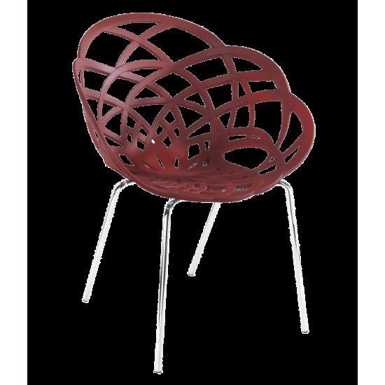 Кресло Papatya Flora-ML матовый красный кирпич сиденье, ножки хром