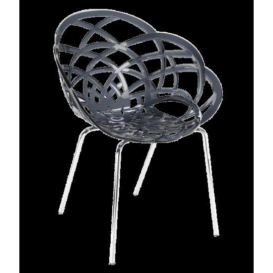 Кресло Papatya Flora-ML прозрачно-дымчатое сиденье, ножки хром