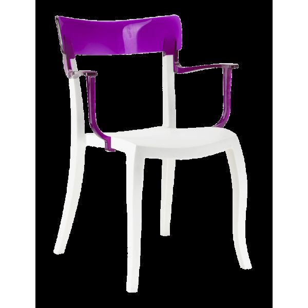 Кресло Papatya Hera-K белое сиденье, верх прозрачно-пурпурный