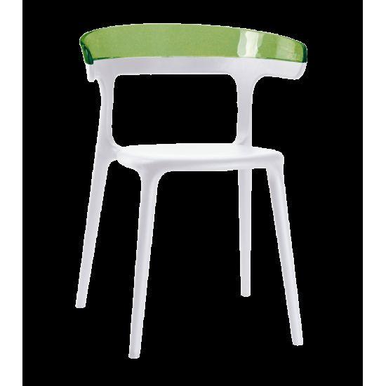 Кресло Papatya Luna белое сиденье, верх прозрачно-зеленый