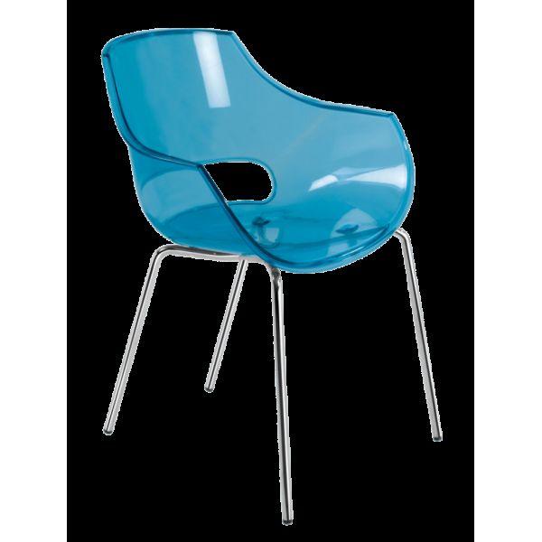 Кресло Papatya Opal прозрачно-синее
