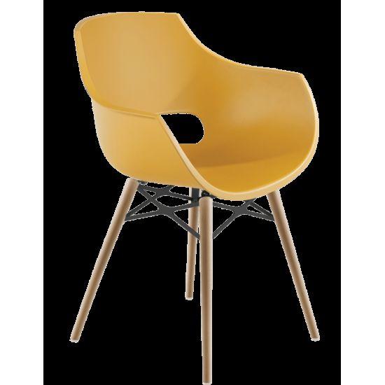 Кресло Papatya Opal-Wox матовый желтый, рама натуральный бук