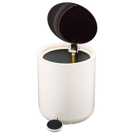 Ведро для мусора с педалью Nordic Style JAH 5 л круглое серебряное с внутренним ведром УЦЕНКА