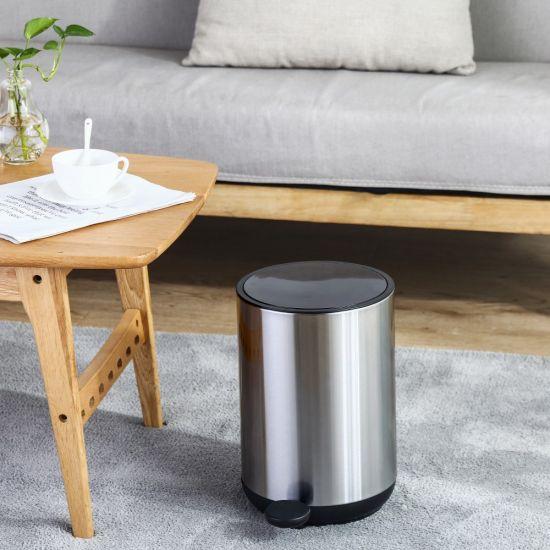 Ведро для мусора с педалью Nordic Style JAH 10 л круглое серебряное без внутреннего ведра УЦЕНКА