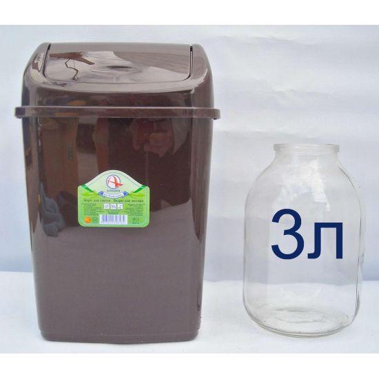 Ведро для мусора 10л с крышкой коричневое